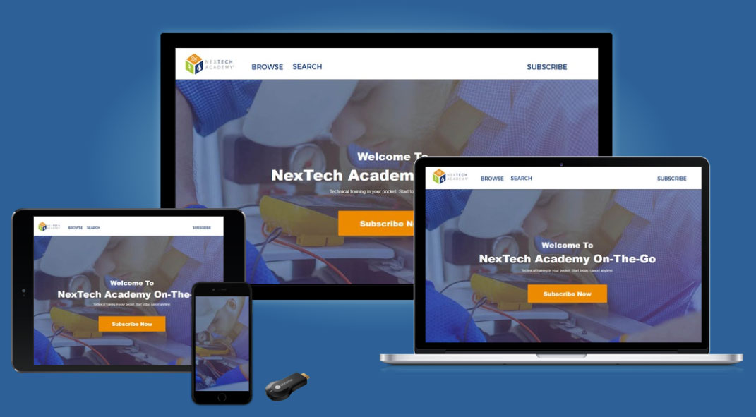 The NexTech Academy website is responsive and will display well across all devices.